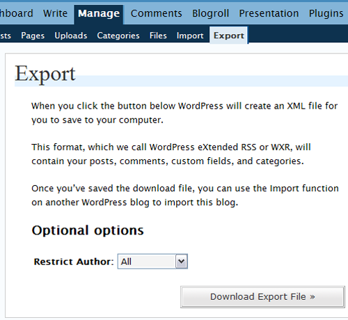 Export XML